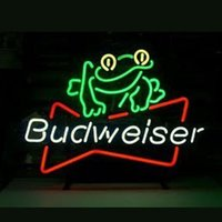 Wholesale 17 quot x14 quot Budweiser Beer Frog design Real Glass Neon Light Signs Bar Pub Restaurant Billiards Shops Display Signboards