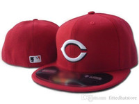 Wholesale Cincinnati Reds Classic Full Red Color On Field Baseball Fitted Hats With White C Logo Fashion Hip Hop Full Closed Design Caps