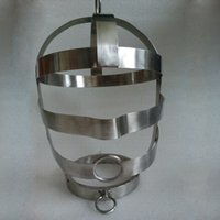 adult hats - Stainless steel hung collar caps sex slave hood adult sex toys for couples bondage set Adult Games products metal hat sex shop