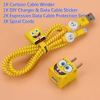 Wholesale Free Ship Sets DIY Wire Rope Protection Suit X Sticker X Data Line Protection X Spiral Cord X Cable Winder for iPhone