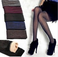 bamboo hosiery - Hot selling Socks Hosiery Women s False silver through meat Nine Leggings Tights Fashion color bamboo charcoal Double thick warm stockings
