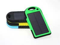 Wholesale 5000mAh Solar Powerbank Charger Battery Solar Panel Waterproof Shockproof Dustproof Portable Power Bank for Mobile Cellphone Android IOS
