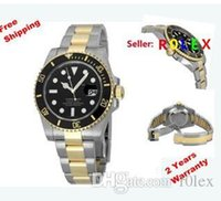 Wholesale wow Luxury Top quality in Brand Gift box Gold Stainless SUB Ceramic Bezel Black Index Dial Automatic Watch