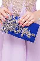 Wholesale New Fashion Cheap Evening Party Clutch Bags Royal Blue Burgundy Black Formal Celebrity Party Decorations Bags Lace Appliques Under CPA573