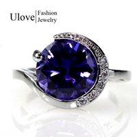 australian plants - Luxury Amethyst Crystal Ring Australian Bijoux Women Retro Fashion Simulated Diamond Jewelry Engagement Rings Rhinestones J087