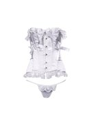 baroque corset - Corset Bustier G string French Elegant Lace Bow Sheer Fabric Underwear Set Steel Bone New Year Women Soutien gorge Baroque Blanc Dentlle