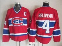 Wholesale Montreal Beliveau Throwback Red Hockey Jerseys Ice Hockey New Hockey Wears Brand Quality Hot Sale Outdoor Uniform