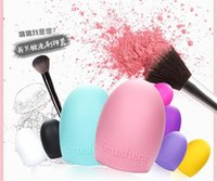 Wholesale 100PCS Egg Cleaning Glove Colors MakeUp Washing Brush Scrubber Board Cosmetic Brushegg Cosmetic Brush Egg mix colors brushegg