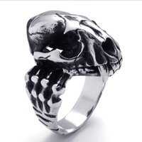 activities punks - 073807 wWholesale Vintage Stainless steel dinosaur skull ring opening activity can open men s punk cool ring jewelry