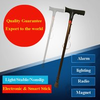 alarms for elderly people - Chinese multifunctional E walking stick for elderly people with radio lighting and alarming magnet therapy safe and fashionalbe style