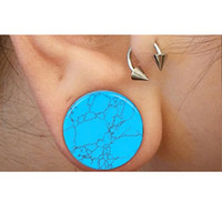 alexandrite stone - 5 mm Pair Blue Turquoise Semi Precious Stone Crack Double Flare Ear Plug Flesh Tunnel Gauges Women Men Fashion Body Jewelry