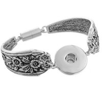 Wholesale Charms Noosa Antique Silver Color Magnetic Clasp Flower Carved Bracelet Fits DIY Snap Buttons Jewelry wholesales