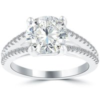 certified diamonds - 2 G SI3 Certified Natural Round Diamond Engagement Ring k White Gold