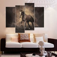 art realism - 4 Picture Combination Canvas Mural Realism Art Canvas Paintings Brown Horse Painting Print On Canvas The Picture For Home Decoration