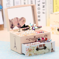 Wholesale New Love music Jewelry box Creative mirrored female cosmetics Receive a case Carousel Music Box Wooden Hand Crank