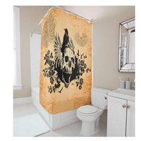 Wholesale Customs W x Inch H Skulls Design Waterproof Polyester Fabric Shower Curtain Bathroom Use DIY Shower Curtain