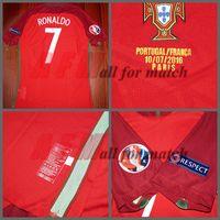 Wholesale POR Euro final Match Worn Player Issue Home Ronaldo Nani Quaresma Football Rugby Custom Patches Sponsor