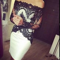 Wholesale Illusion Long Sleeves Cocktail Dresses Off Shoulder Little White and Black Lace Gorgeous Sheath Formal Arabic Gowns New Short Hot