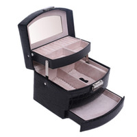 Wholesale Leather Jewelry Box Lockable Makeup Storage Case with Mirror Storage Case Three Layers Organizer Box