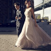 affordable lace wedding dresses - Affordable Wedding Dresses Sheer Bateau A Line Floor Length Chiffon Backless Vintage Bohemian Wedding Dress With Lace Applique Beads