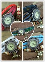 battery pendant - Ladies Leather Charms Wrist Watches Women Quartz Wristwatches Pendants Sweet Hearted Wing Shaped Vine Bracelet Watches