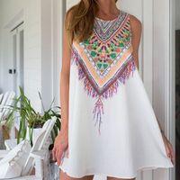 bell sleeve tunic - Floral Print Tunic Sleeveless Short Chiffon Dresses