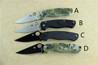 Wholesale Hot Sales Spyderco C81GPCMO2 Paramilitary Knife Spyderco C81 knife cr black G black handle Black Blade Real photo S C122 carbon han
