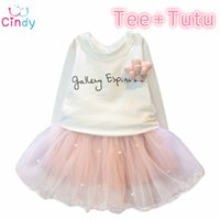 Wholesale Lovely Girls White Tee Shirt and Pink Skirt With Rhinestone Clothes Set for Kids Girl Autmn Children Clothing Set Suit