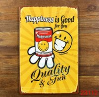 Wholesale HAPPINESS IS GOOD FOR YOU Tin Sign Bar pub home Wall Decor Retro Metal Art Poster