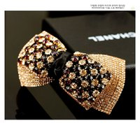 Wholesale Korean Noble Women Bow Boutique Hair Accessories Luxury Full Austria Rhinestone Barrettes Manual Spring Hair Clips For Lady