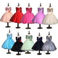 Wholesale New Sleeveless Waist Chiffon Dress Girls Toddler D Flower Tutu Layered Princess Party Bow Kids Formal Dress Colors