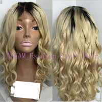 Cheap Free Shipping Two Tone Ombre #1b #613 Glueless Full Lace Human Hair Wigs Glueless Lace Front Wig Brazilian Body Wave Blonde 7A