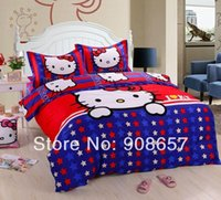 Wholesale blue red star shaped Hello Kitty printed comforters set single twin full queen king size bedding cotton girls doona duvet covers