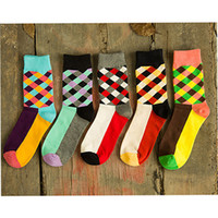 Others argyle knee highs - New Brand Happy socks British Style Plaid Socks Gradient Color High Quality Men s Cotton argyle Socks