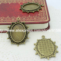Wholesale New Antique Bronze Cameo Charm Oval Pendant Tray Bezel Jewelry Findings Fit Jewelry Making Inner Size mm