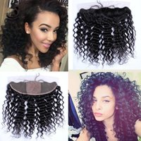 Cheap 8A Brazilian Deep Wave Silk Base Lace Frontal Closure With Baby Hair Ear To Ear Silk Top Full Lace Frontals Bleached Knots 13x4