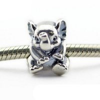 Wholesale Lucky Elephant Beads Fits Pandora Charms Bracelet Summer Animal Beads Original Sterling Silver Beads For Jewelry Making