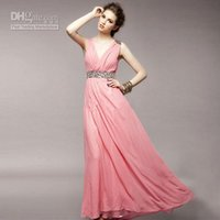 art deco lady - Elegant Ladies Maxi Prom Dress V Neck Sleeveless Beaded Chiffon Formal Evening Dress Summer Pink White Cocktail Dresses