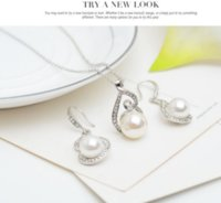 banquet plate - The new bride rhinestone pearl necklace earring Jewelry Sets European and American banquet earrings jewelry gift