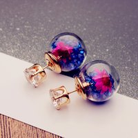 Wholesale cheap glass crystal ball earrings gold plated stud earring for women