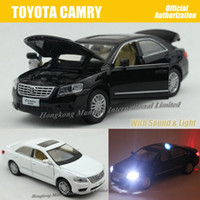 big car sound - 1 Scale Alloy Diecast Metal Car Model For TOYOTA CAMRY Collection Model Pull Back Toys Car With Sound Light Black White