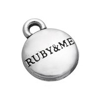 antique ruby jewelry - 10mm mm Antique Silver Plated Round Shaped Engraving Letter Ruby Me Charms Love Jewelry Findings
