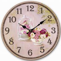 antique large vases - Retro Vintage Style Large Clock Purple Rose Flower Cup Vase Home Decorative Wall Clock Wood CM