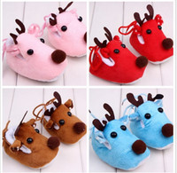 Wholesale New autumn and winter baby Christma shoes Ultra soft bottom plus velvet baby shoes toddler shoes for Christmas deer