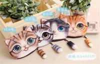 Wholesale 100pcs Design D Printer Cat face Cat with tail Coin Purse Bag Wallet Girls Clutch Purses Change Purse cartoon handbag case D639