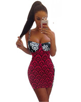 Wholesale Summer Summer Women Dress Vestidos Lady Casual Sexy Strap Print Slim Bodycon Mini Dress