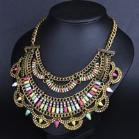 Wholesale X022 New Fashion Vintage Necklaces Pendants Chain Rhinestone Collars Big Long Choker Statement Necklace Jewelry for women