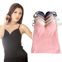 Wholesale sexy Fashion lady Modal Adjustable Strap Built In Padded Self Mold Tank Top Camisole Women