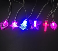 Wholesale Children LED necklace flash luminous crystal butterfly pendant necklace love the moon and stars party Toys