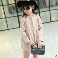 Wholesale New Children s Clothing Trench Spring Autumn Colors Outwear Big Girls Trench Fashion Collarless Coat Size4 ly058